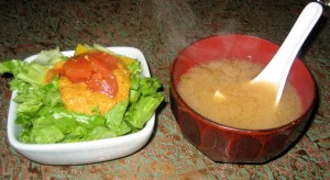 Photo of Miso Soup and Salad at Musashino in Austin, TX