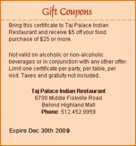 Taj Palace Coupon in Austin, TX