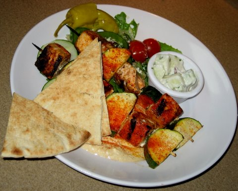 Zoes Kitchen Salmon Kabob zoe's kitchen review in austin, tx