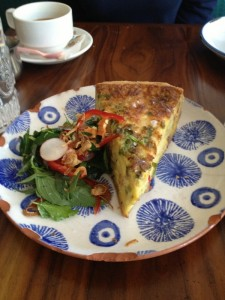 Elizabeth Street Cafe -  Dish 1 (Pork Belly Quiche with gruyere & fresno chilis, radish and shallot herb salad)