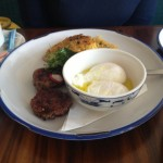 Elizabeth Street Cafe -  Dish 3 (Crispy Vermicelli Cakes with Ginger Sausage and Poached Eggs)